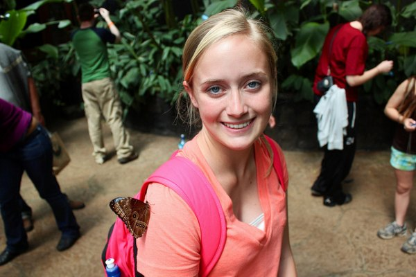 Finger Lakes Community College students at a butterfly conservatory in Costa Rica