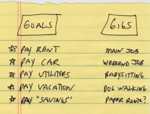 Handwritten gigs and goals list