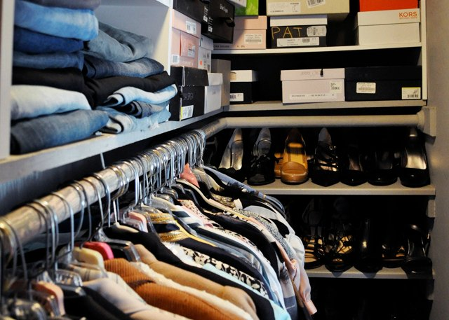 To reach long-term financial health, start with attainable, short-term goals with an immediate payoff -- like selling anything in you closet you haven't used in a year or more. Photo: Meagan Tintari
