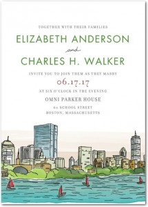 cheap wedding invitations - boston skyline