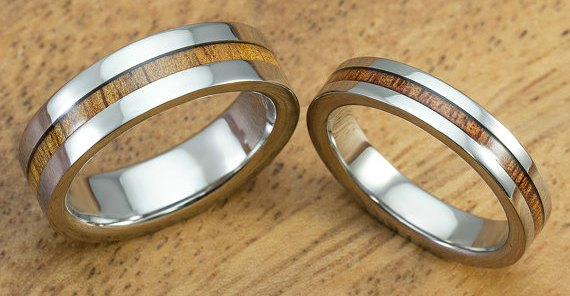 cheap wedding bands titanium and koa wood inlay - Cheapest Wedding Rings