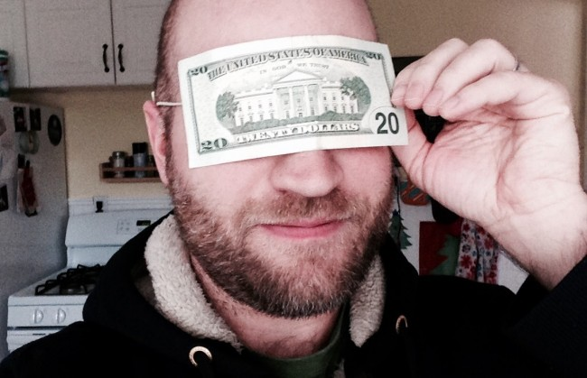 blindfolded with $20 bill